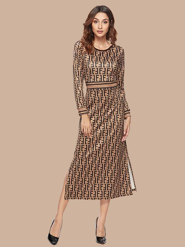 Women Round Neck Long Sleeve Slim Print Evening Dress