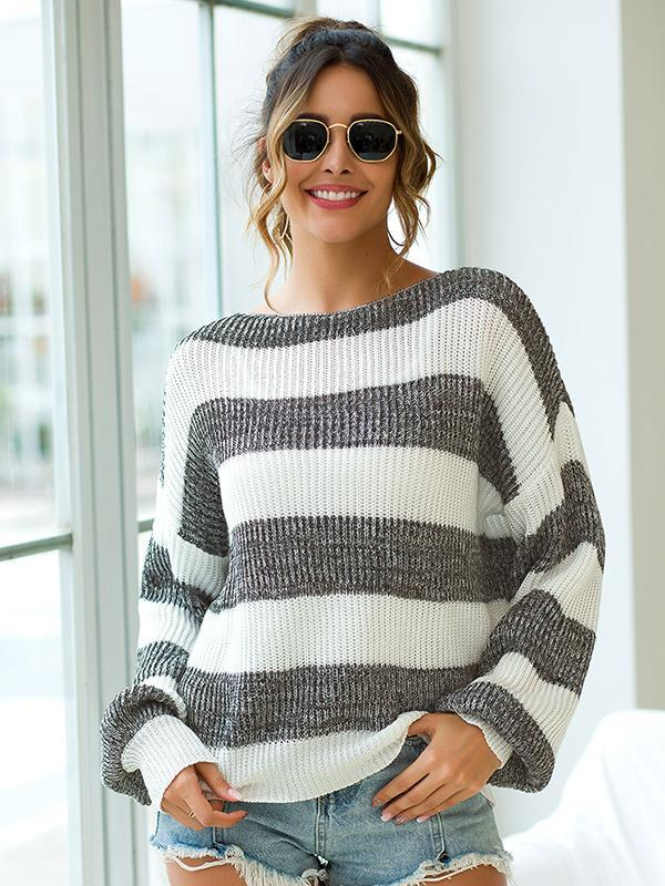 Women Round Neck Striped Lantern Sleeve Loose Knit Sweater