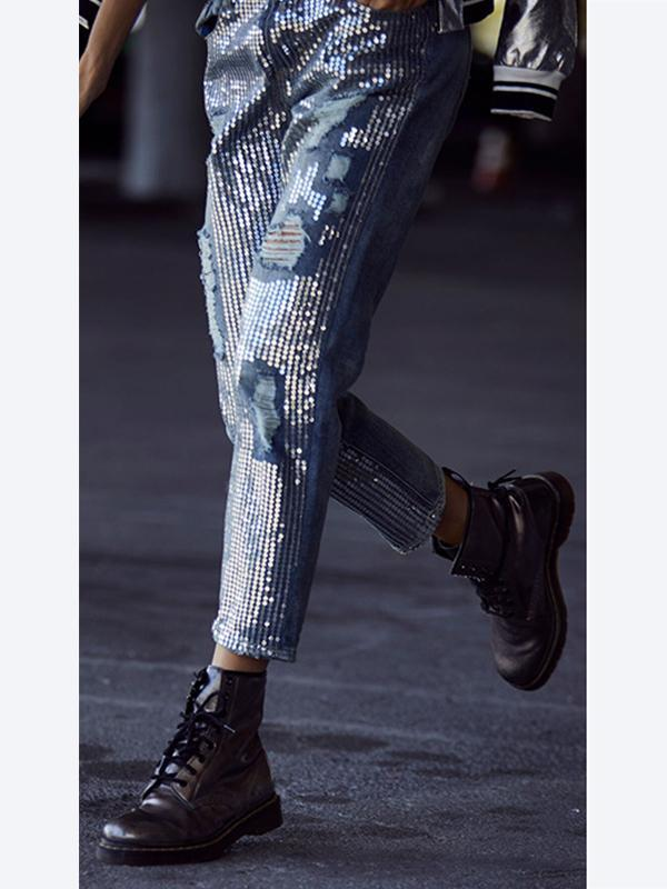 women sequined ripped hole jeans
