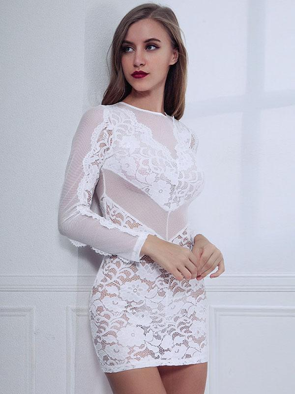 women sexy backless lace bodycon dress