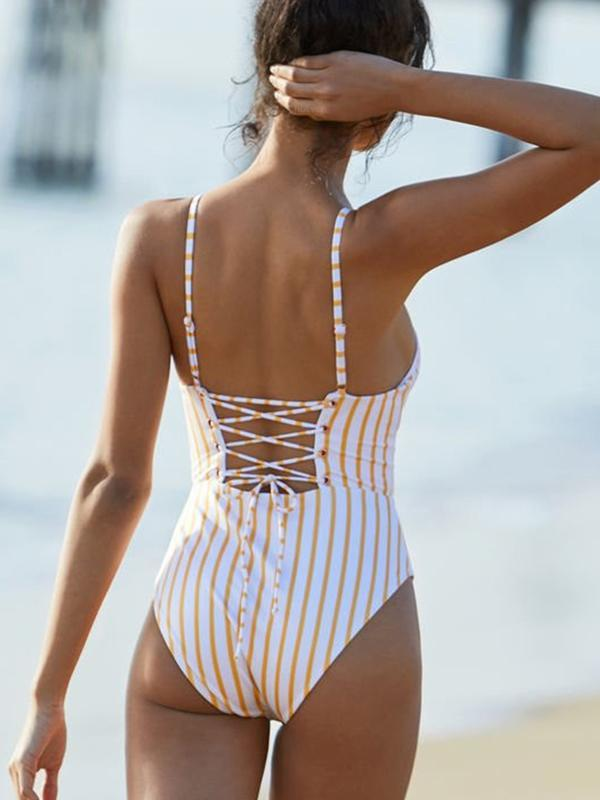 Women Sexy Beach Striped One piece Bikini