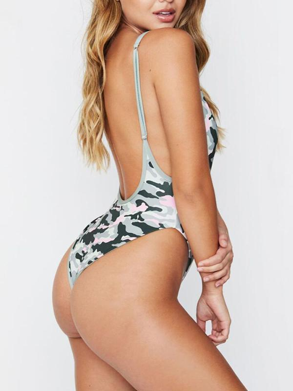 Women Sexy Camouflage One Piece Bikini