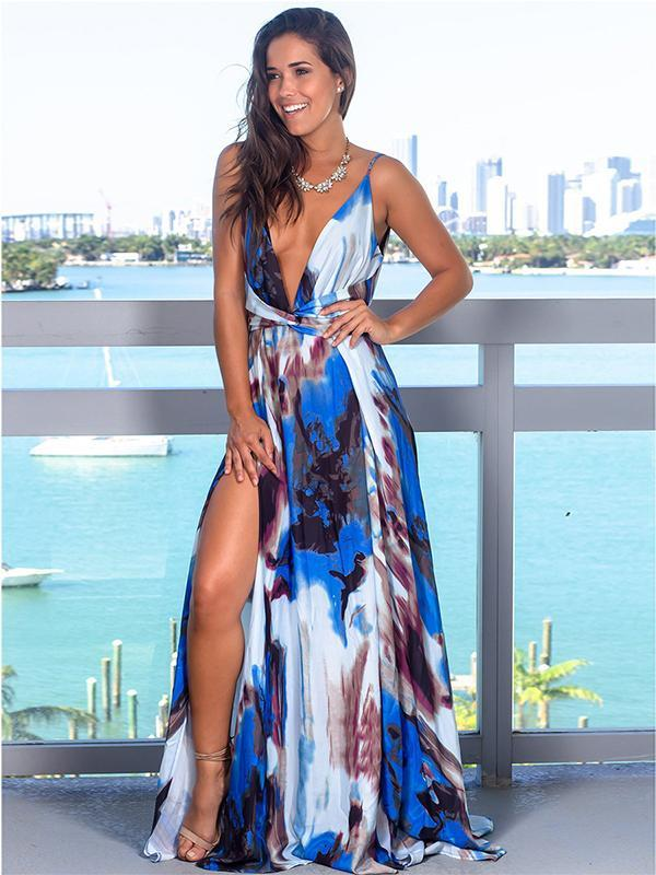 Women Sexy Deep V-neck High Slit Floral Print Dress