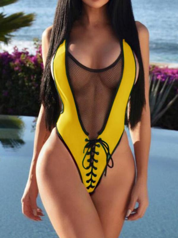 Women Sexy Mesh Backless One Piece Swimsuit
