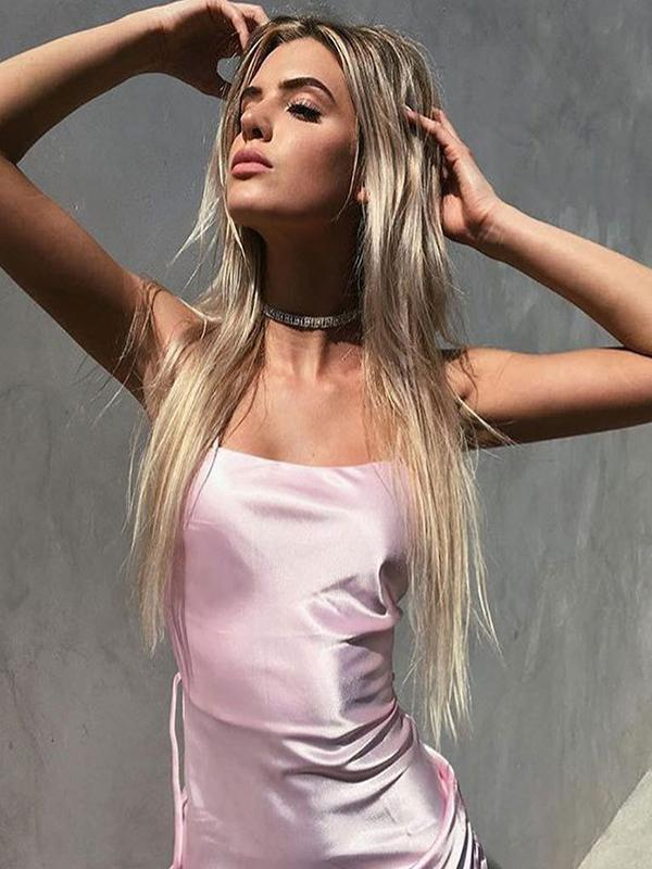 women sexy pink slip dress