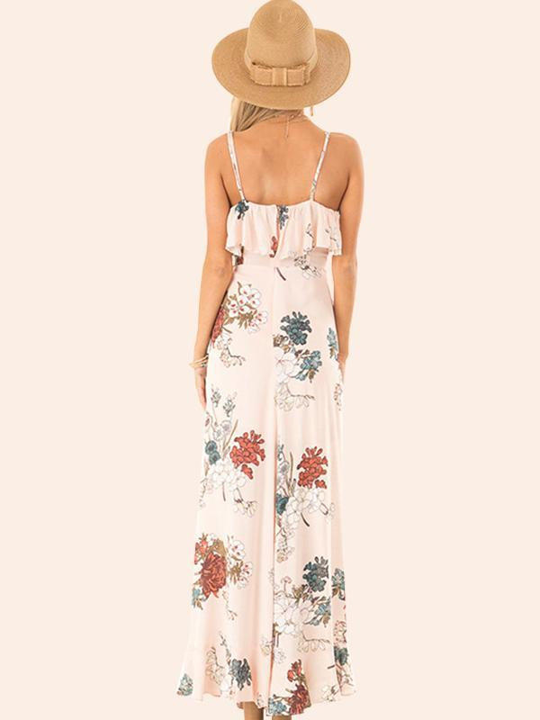 Women Sexy Sling Halter Retro Flowers Dress