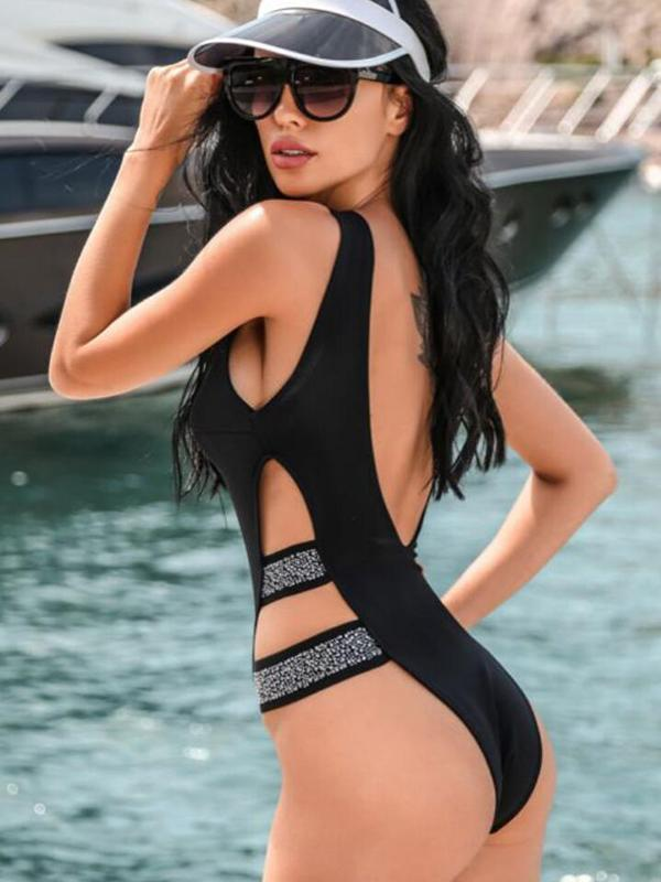 Women Sexy Solid Swimsuit One Piece