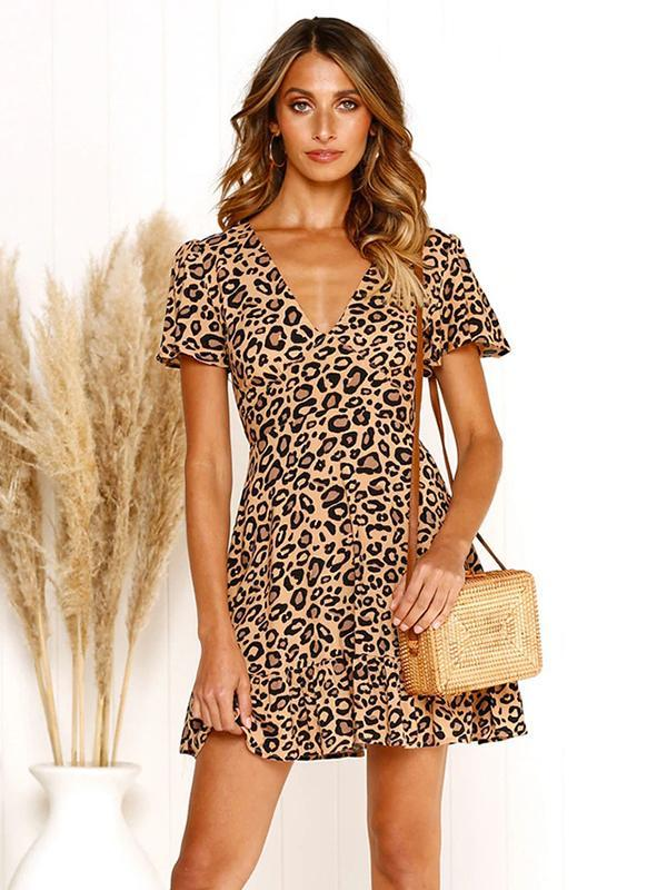 Women Sexy V-neck Short Sleeve Leopard Print Ruffled Dress