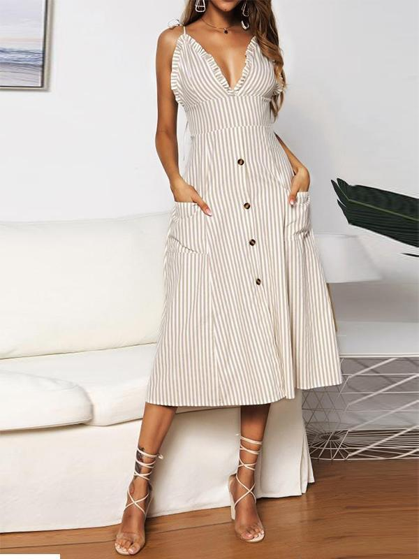 Women Sexy V-neck Sling Stripe Casual Dress