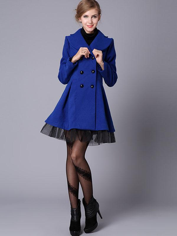 women Shawl collar solid double breasted coat