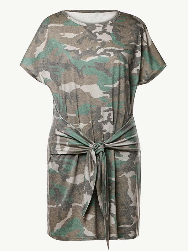 Women Short-sleeve Round Neck Loose Camouflage Print Lace-up Dress