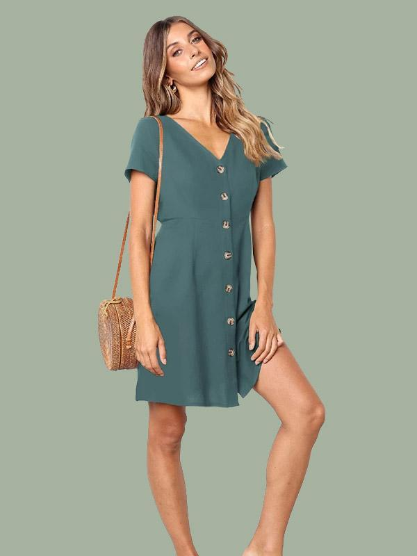 Women Short Sleeve V-neck Solid Color Button Mini Dress