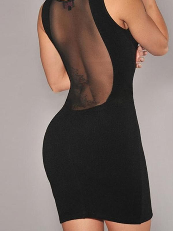 Women Sleeveless Round Neck Sexy Mesh Bodycon Dress