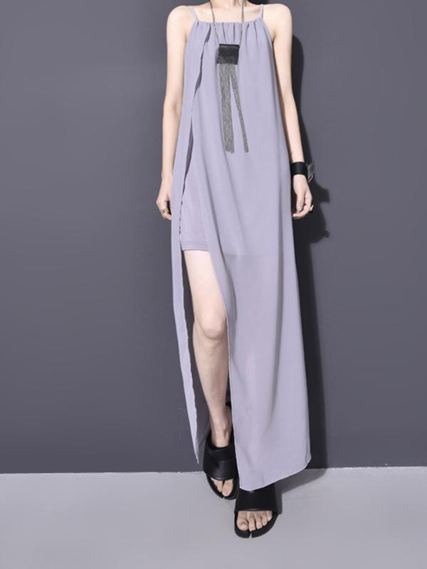 Women Sleeveless Solid Color summer Party Chiffon Dress