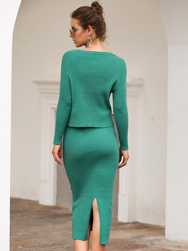 Women Slim Fit Two-piece Solid Color Knitting Bodycon sweater Dress