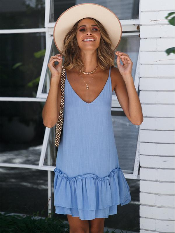 Women Sling Sleeveless V-neck Solid Color Fashion Mini Dress