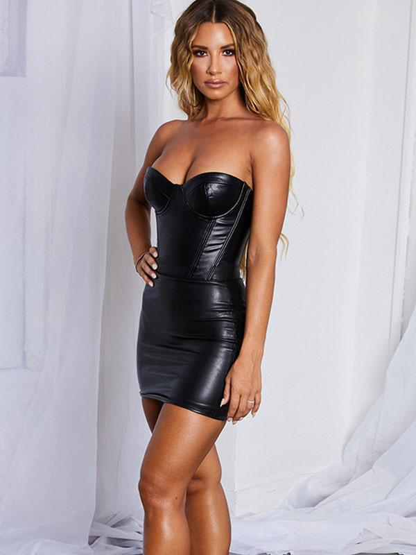 women solid boat neck PU sexy bodycon dress