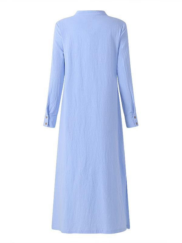 Women Solid Color Casual Retro Long Sleeve Slit Maxi Dress