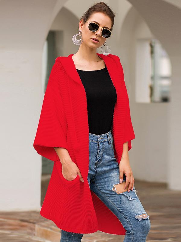 Women Solid Color Long Sleeve long Cardigan Hoodie Sweater