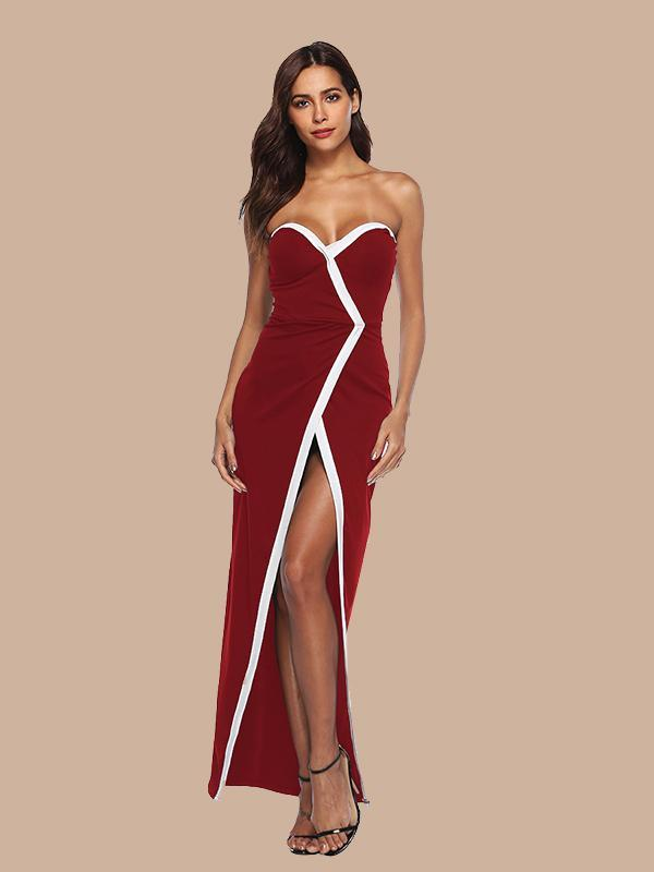 Women Solid Color Sexy Split Low-cut Dress Mopping Dress