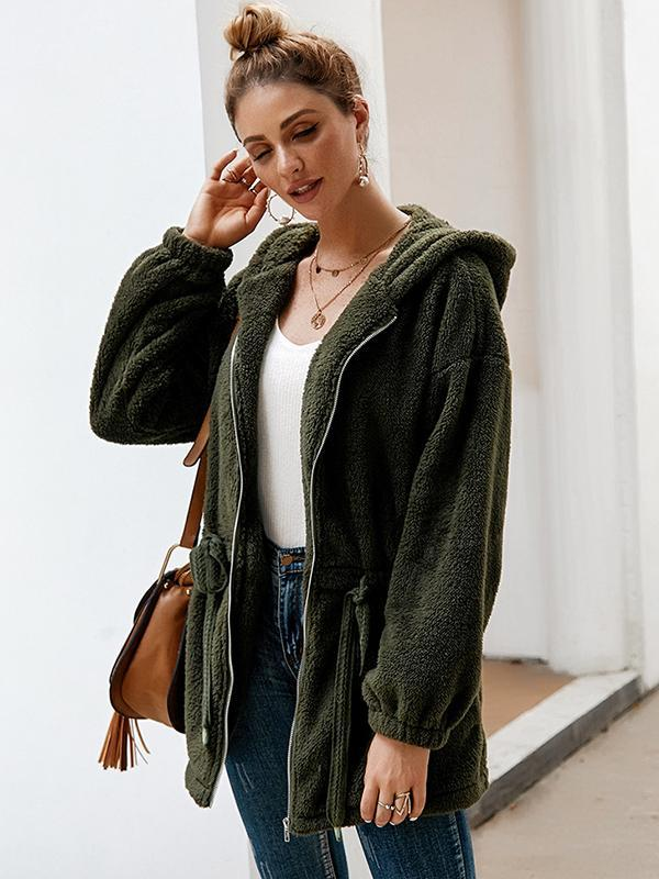 women solid hooded cardigan sweater