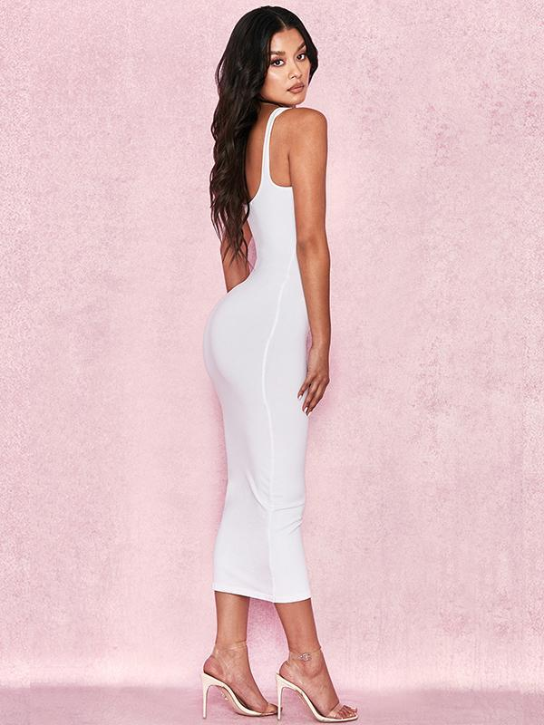 women solid sexy bodycon long tank dress