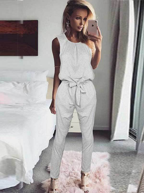 women solid tank jumpsuit with belt