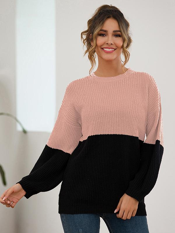 Women Stitching Contrast Color Puff Sleeve Loose Sweater