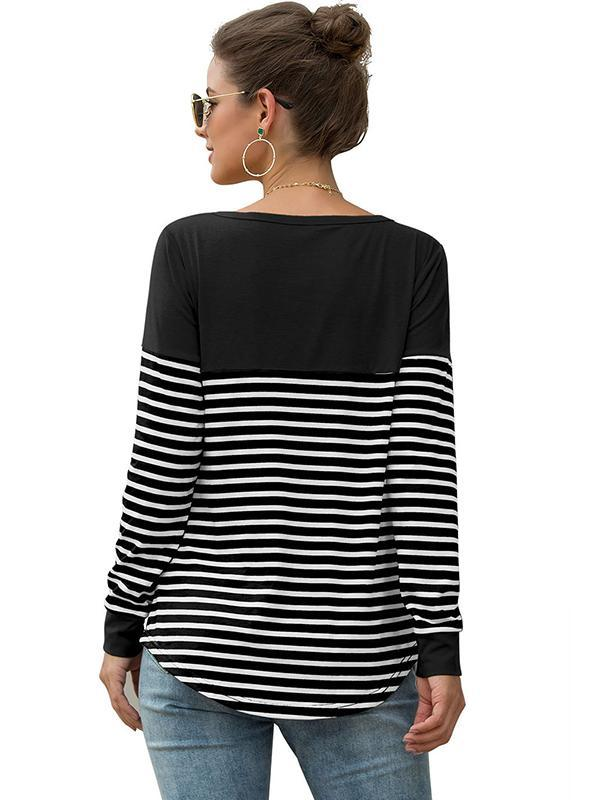 women striped v neck blouse