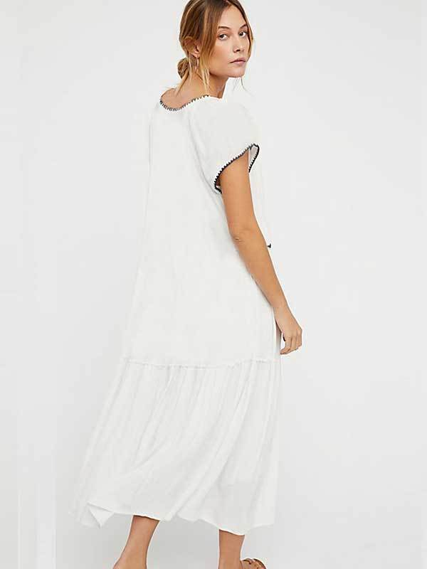 Women Summer White loose Vacation Embroidery Long Dress
