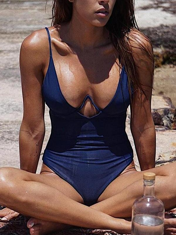 Women V-neck Backless Solid One Piece Bikini