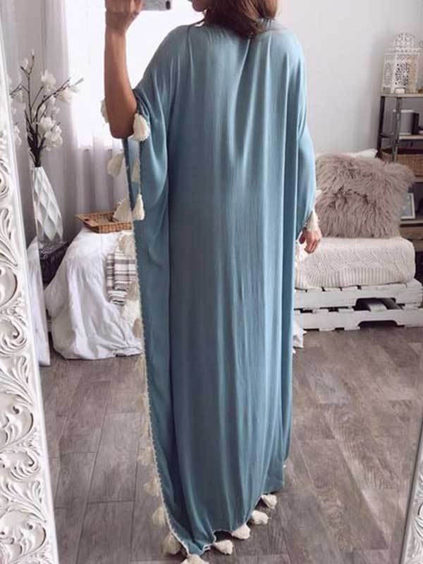 women v neck Bohemia style long dress