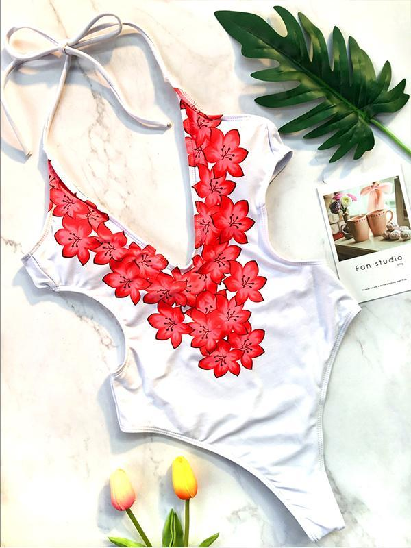 Women V-neck Floral Bikini Swimwear