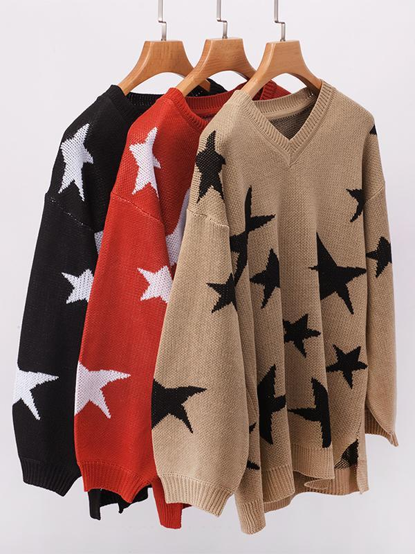 Women V-neck Long Sleeve Loose Five-pointed Star Print Sweater