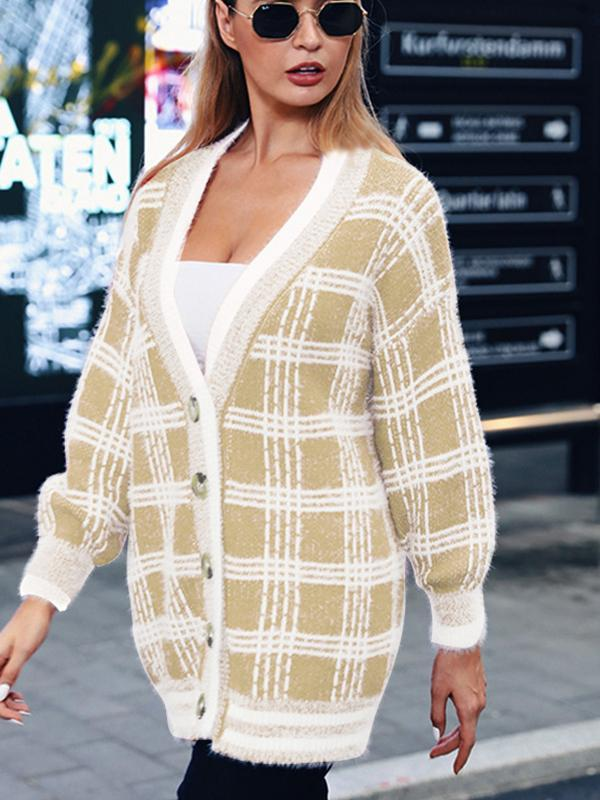 women v neck loose cardigan sweater