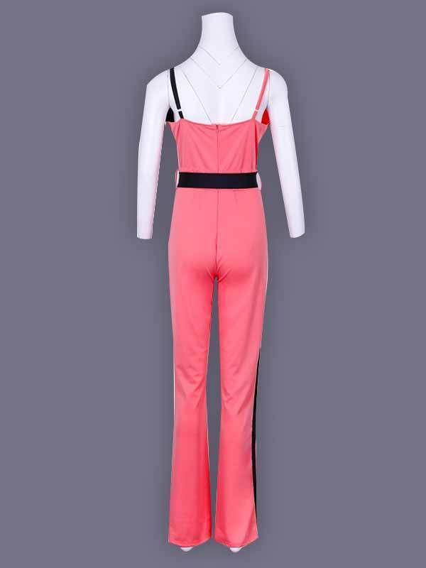 women v neck slim cami cullottes jumpsuit