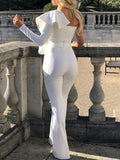 Women White One-shoulder Lace Piece Flared Pants