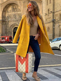 women yellow wool coat