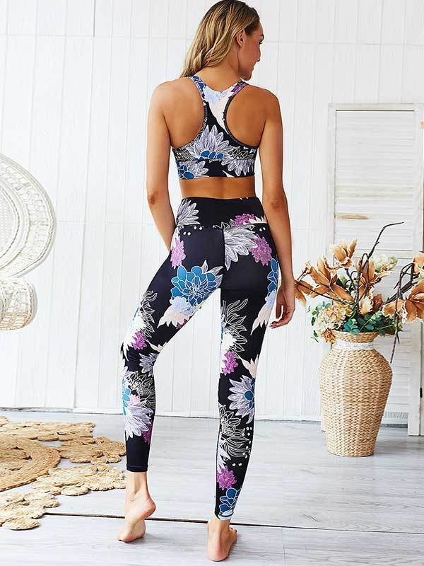 women yoga butt lifting sports bottoms & sports tops set
