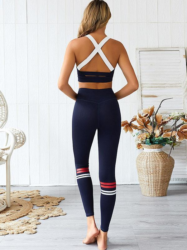 women yoga butt lifting stretchy legging & sports tank top set