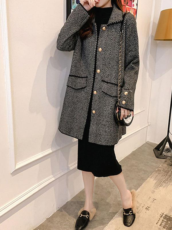 Women's New mid-length wide loose shirt woolen coat