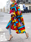 Geometric Printed Trench Coat 2020 Autumn Winter Women Long Sleeve Contrast Color Trench Coat Casual Loose Outwear