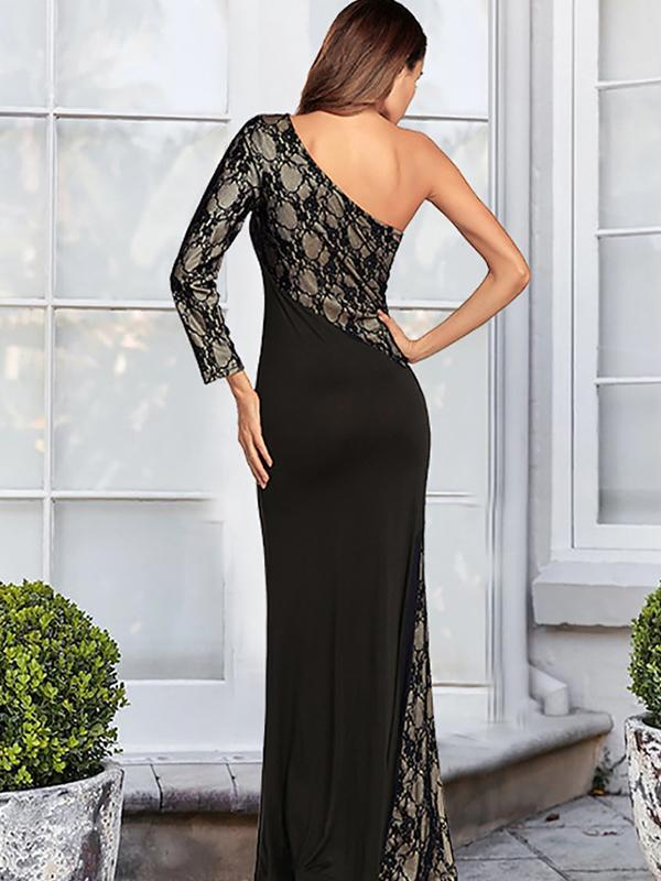 Women's Bandeau Off Shoulder Flared Party Split Long Dress