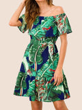 Womens Beach Casual Coconut Tree Printed Collar Dress