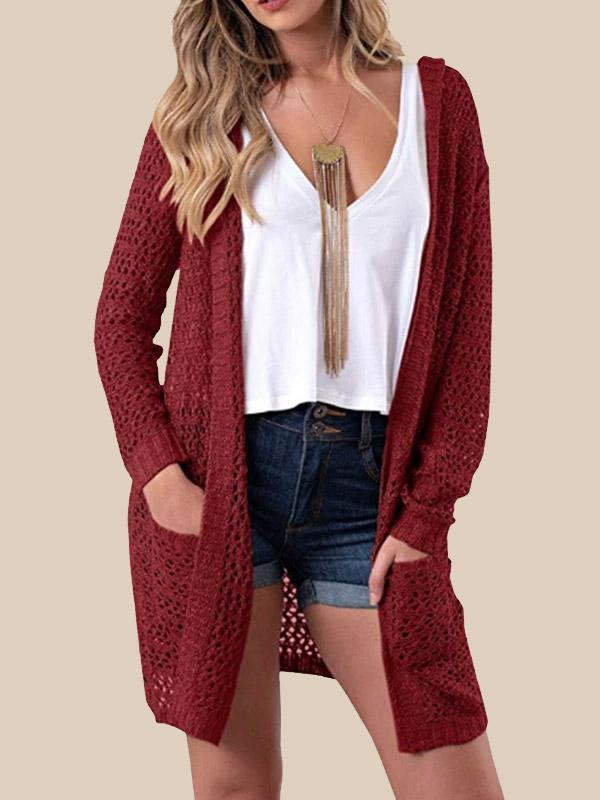 Women's Boho Long Sleeve Pointelle Cardigans