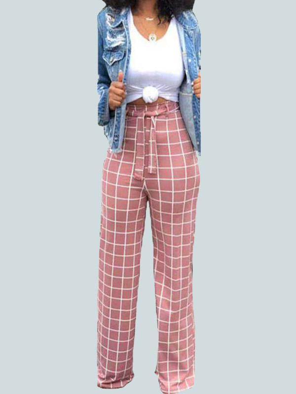 Women's Casual High Waist Plaid Straight Pants
