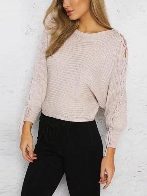 Womens Casual Long Sleeve Loose Knit boat neck sweater Tops