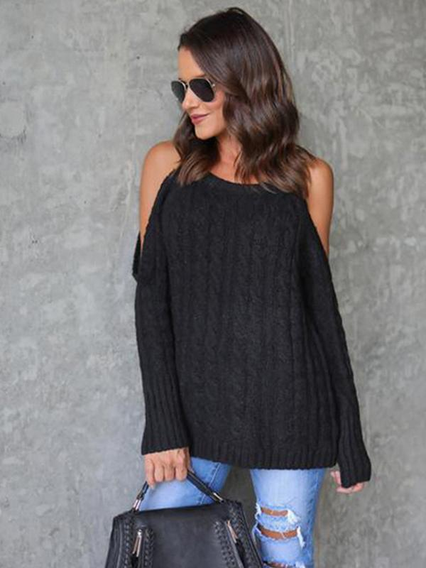 Womens Casual Long Sleeve Off The Shoulder halter neck sweater