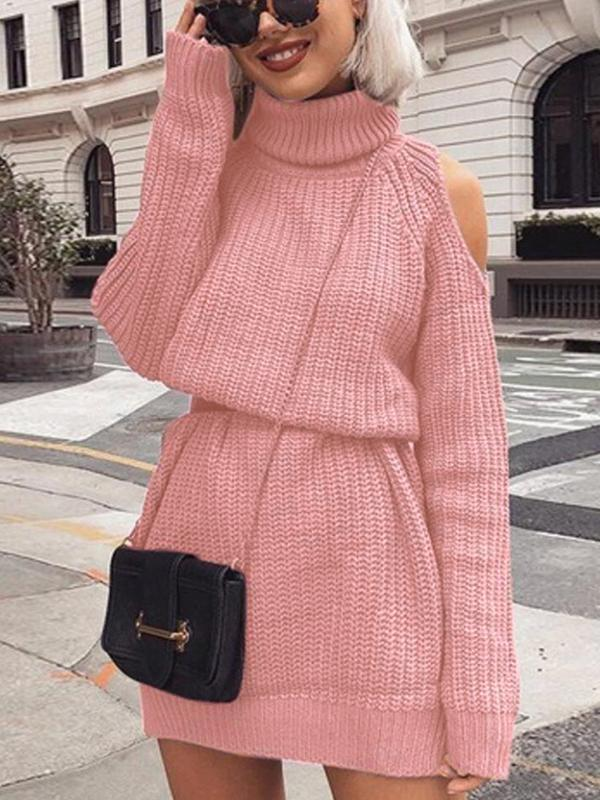Women's Casual Long Sleeve Off The Shoulder Knitted Sweater Mini Dress