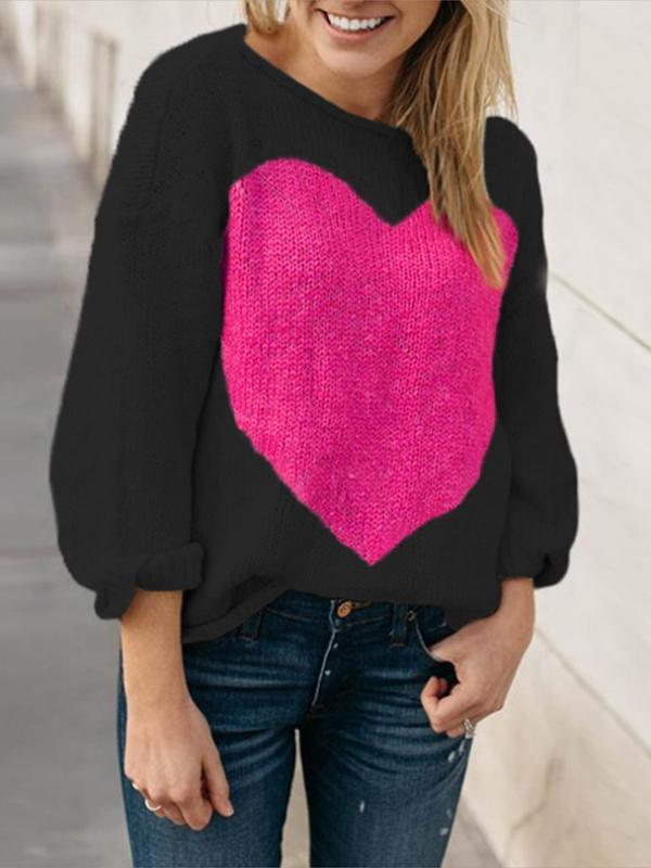Womens Casual Long Sleeve Off The Shoulder Loose Knit heart print sweater